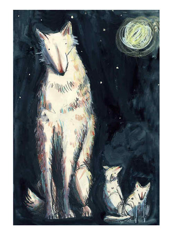 A4 or A5 in stock Folktale week 'Wolf and two pups' print