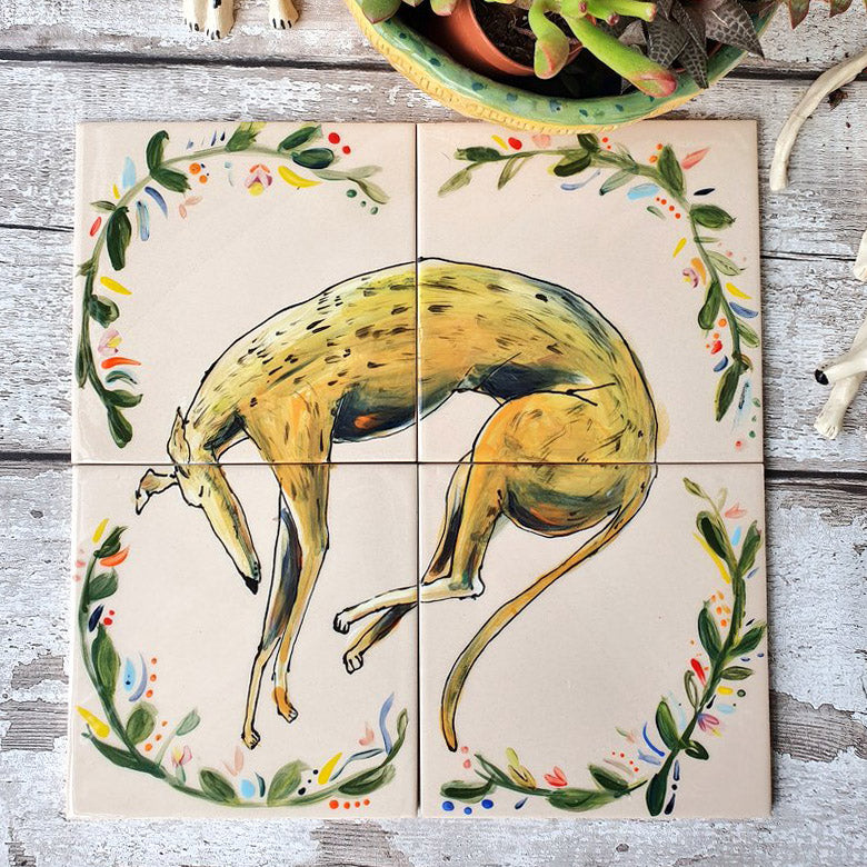 Set Of Hand Illustrated Ceramic Dog Tiles