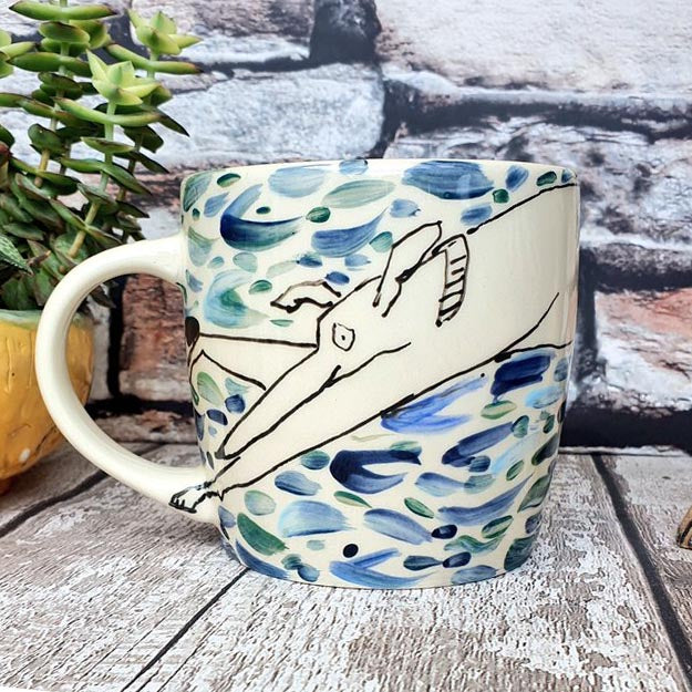 Hand Painted Dog Mug (Blue)