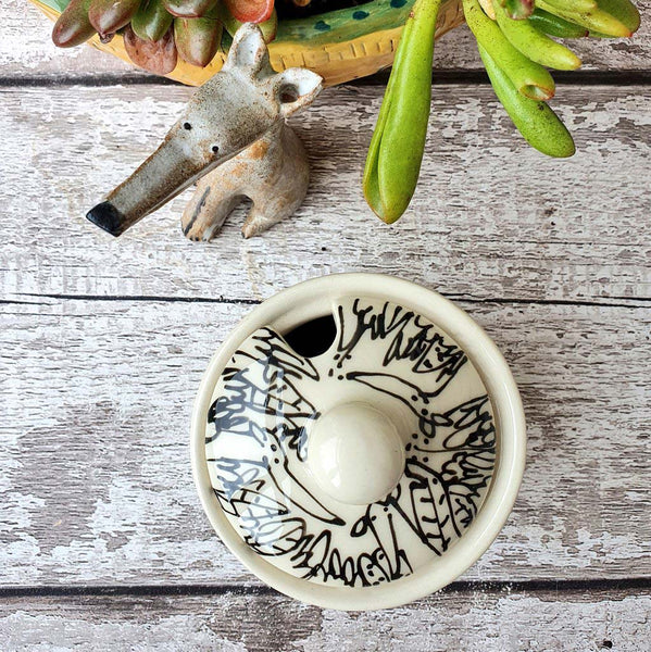Dogs in plants Hand illustrated ceramic sugar bowl