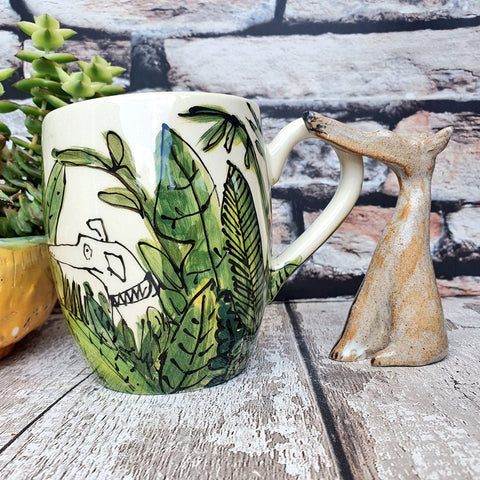 Dog in Cactus, hand illustrated ceramic 16oz Mug