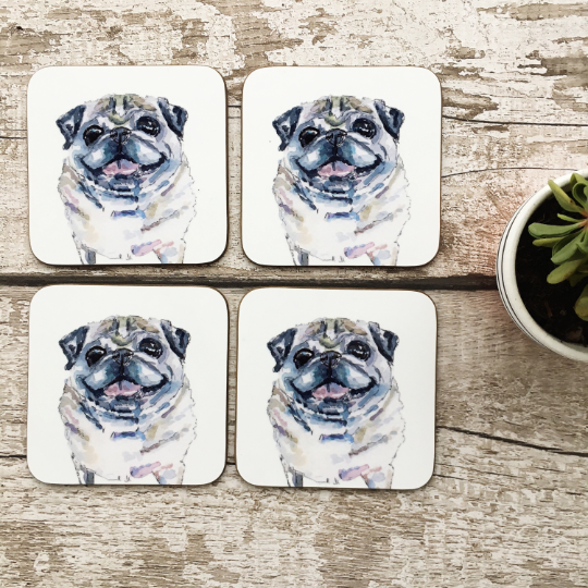 Limited Dog coasters single or set of 4 Lady Puggington