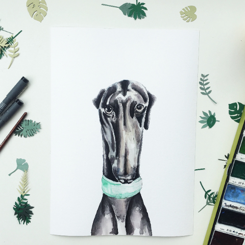 Black Greyhound giclee print A5 or A4