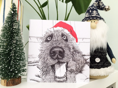 Wolfhound Dog Xmas card Square