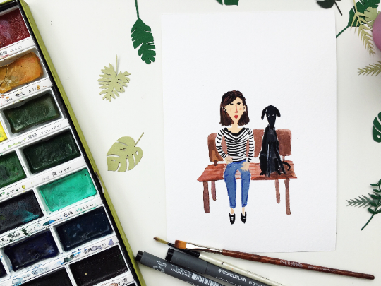 Dog illustration Dog with owner A5