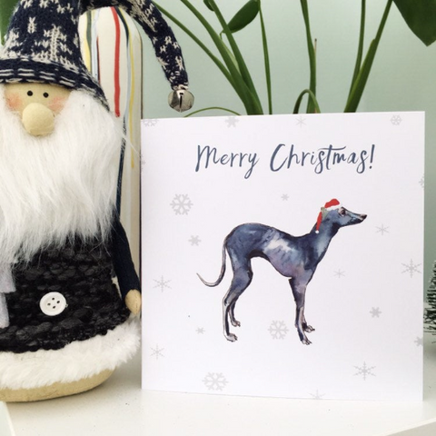 Greyhound Dog Xmas card Square