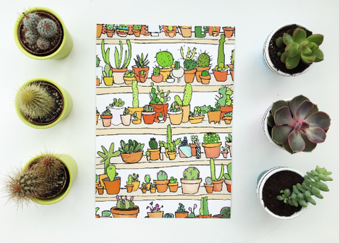Cacti shelf print A5 and A4