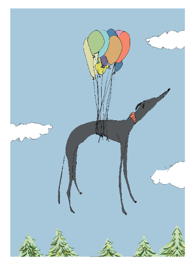 I can fly A4 or A5 fine art print black dog also in white