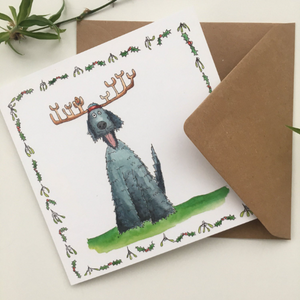 Wolfhound Dog Xmas Cartoon card Square