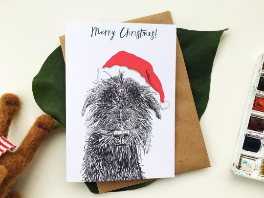 Wolfhound Dog Xmas card A6 or A5 size