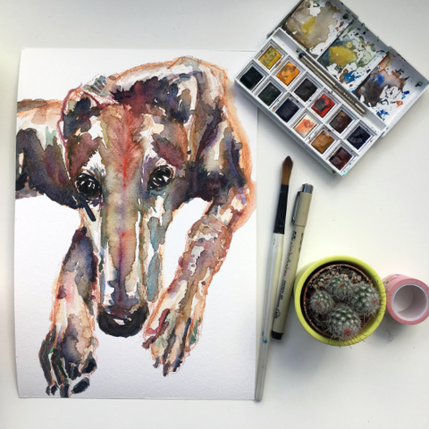 Greyhound water colour painting limited edition