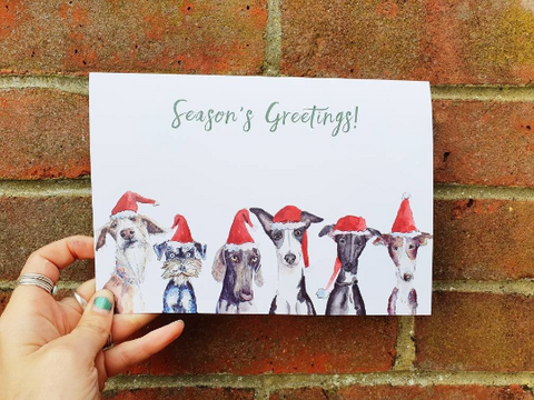 Greyhound Dog Seasons Greeting card A5