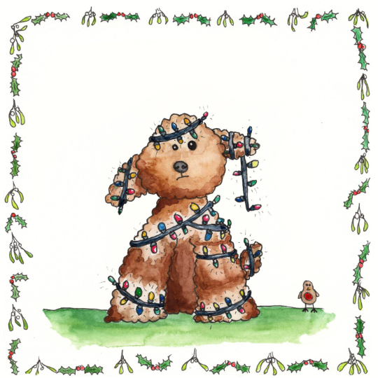 Cockapoo Xmas card Square