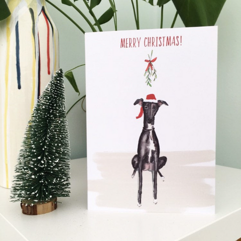 Limited Edition Dog Xmas card with mistletoe A5 size