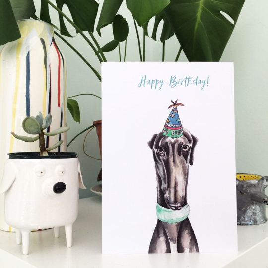 Black Greyhound Dog birthday Card