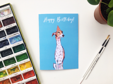 Birthday Galgo Dog card