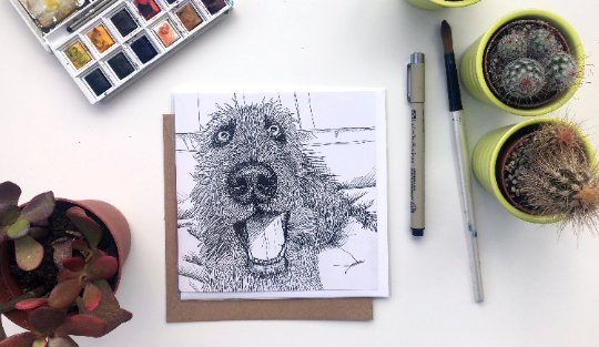 Wolfhound card Square Blank greetings card