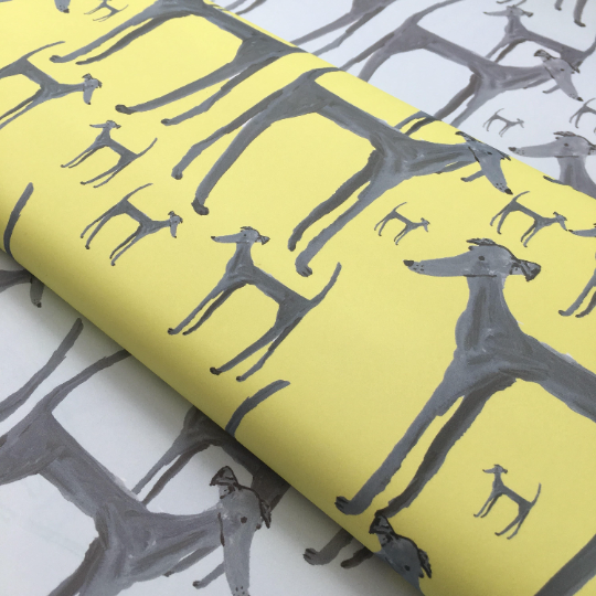 2 in a pack Limited edition Dog wrapping paper Yellow & light blue very low stock