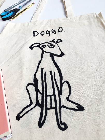 Canvas Doggo Tote bag Black or Beige