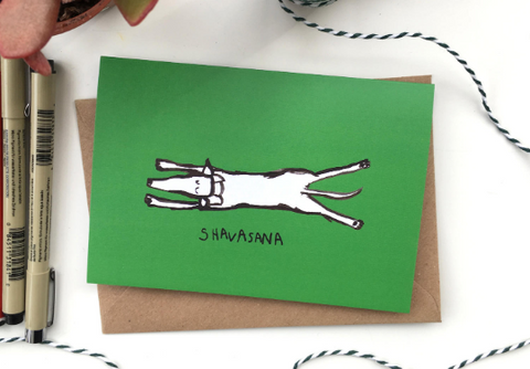 Yoga greeting card A6 size Shavasna