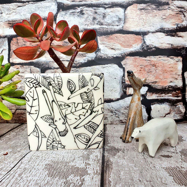 Hand illustrated dogs in leaves ceramic cube planter
