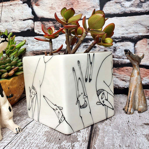 Sleeping dogs SECONDS Hand illustrated ceramic cube planter
