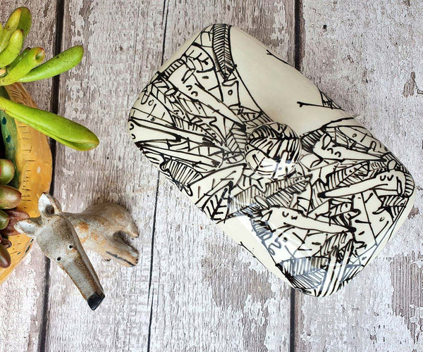Hand illustrated butter dish Dogs in Leaves with secret buttery message inside