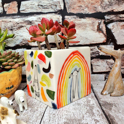 Hand illustrated colourful dog multi coloured rainbow ceramic cube planter