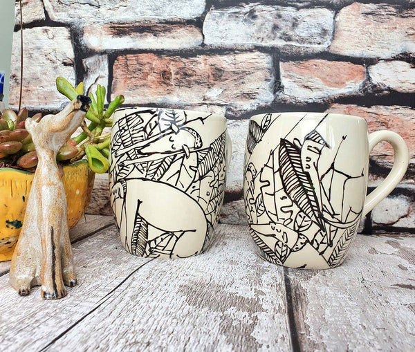 Sleeping dogs in leaves 16oz hand illustrated one of a kind Mug