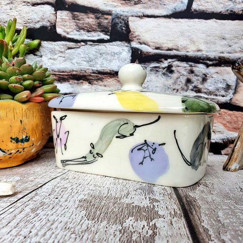Hand illustrated butter dish Colourful Dogs - limited stock