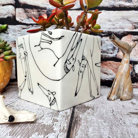Hand illustrated sleeping dogs ceramic cube planter