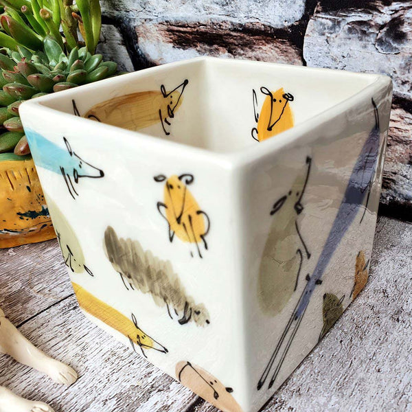 SECONDS One of a kind Hand illustrated colourful dogs ceramic cube planter