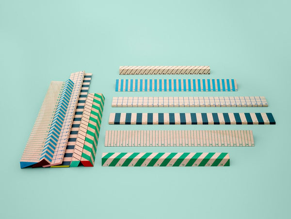 WOODEN RULER BLUE (25CM) - HAY