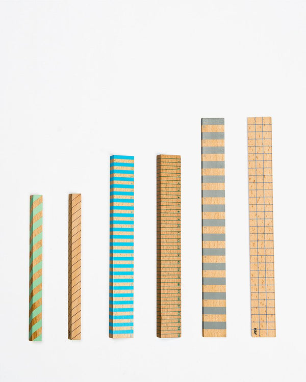 WOODEN RULER GREY (30CM) - HAY