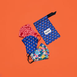 FABRIC MASK BUNDLE SET EARLOOP BLUE POUCH - Ayang Cempaka