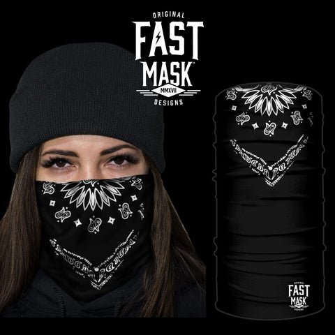 Classic black bandana * Now With Sewn Edges* - Fast Mask