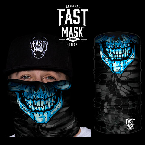 Blue Skull Fleece Face Mask