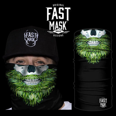 Green Beard Skull Face Mask - * Now With Sewn Edges* - Fast Mask