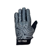 Grey Paisley Motorcycle Gloves - Fast Mask