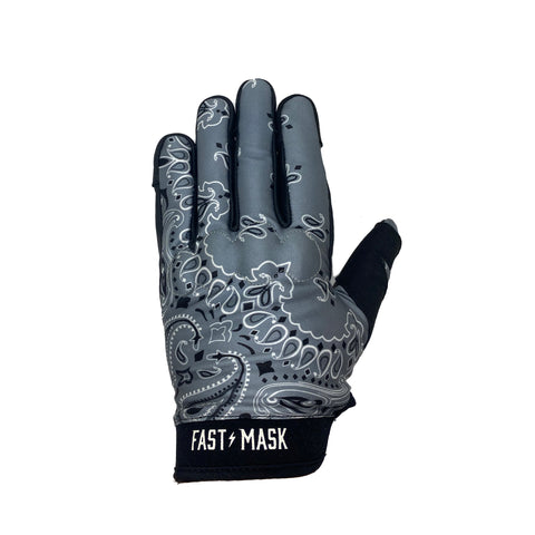 Grey Paisley Motorcycle Gloves