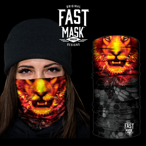 Fiery Lion Fleece Face Mask - Fast Mask