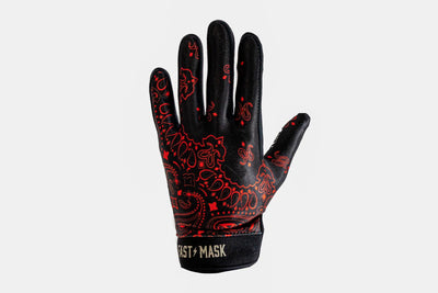 New - Black Red Paisley  Motocross & Bike Gloves - Fast Mask