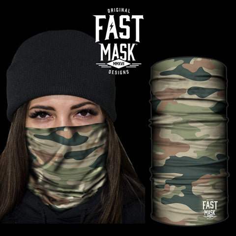 Woodland Camo Face Mask *Now with Sewn Edges* - Fast Mask