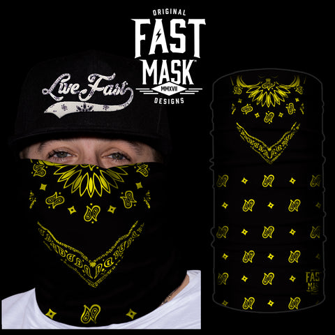 Black & Yellow Paisley Bandana Fast Mask