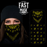Black & Yellow Paisley Bandana Fast Mask - *Now with Sewn Edges* - Fast Mask