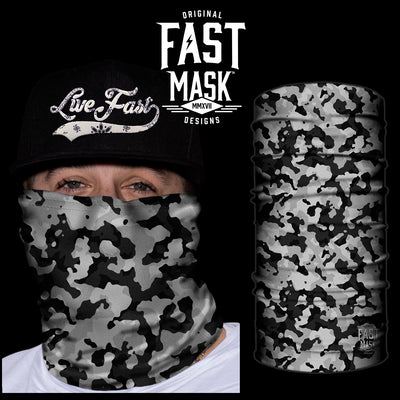 Grey  Camo Fast Mask- *Now with Sewn Edges* - Fast Mask