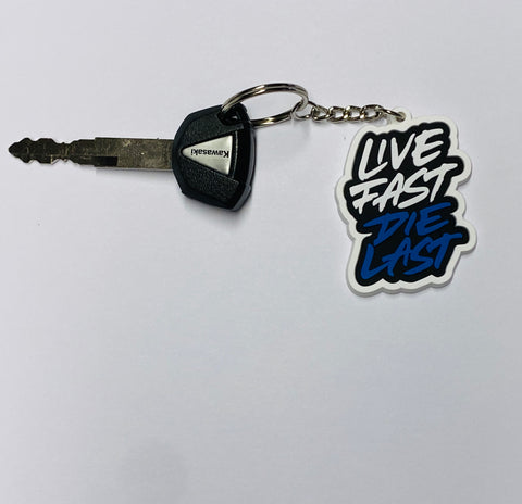 LIVE FAST DIE LAST BLUE KEYCHAIN - Fast Mask