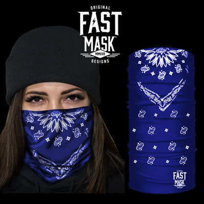 Blue Bandana Fast Mask Face Mask - *Now - With Sewn Edges* - Fast Mask