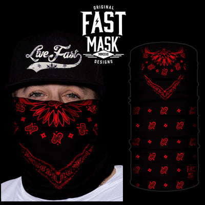 Black & Red Bandana Fast Mask * Now with Sewn Edges * - Fast Mask