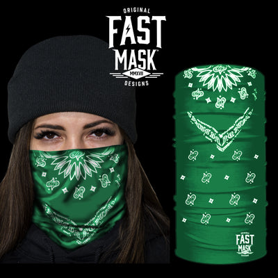 Green Bandana Fast Mask Face Mask * Now With Sewn Edges* - Fast Mask